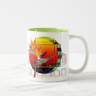 Mug   White  Bird of Paradise Flower Geometric