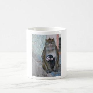 Mug- wild Macaque monkey and baby