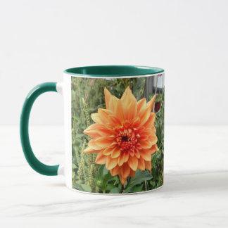 Mug with 2 photos of orange dahlias
