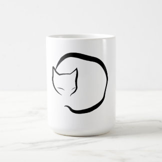 Mug with a sleeping cat in four lines