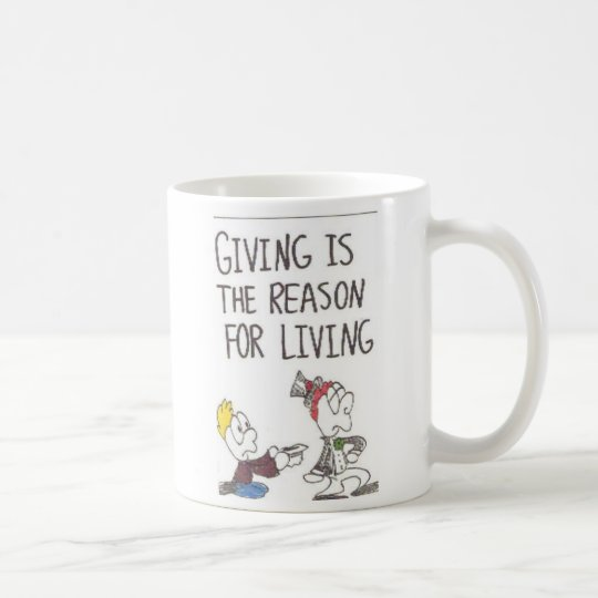 Mug with animated pictures of funny church sayings