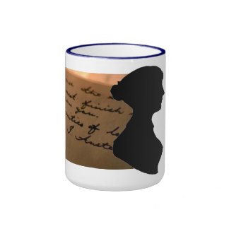 Mug with Austen silhouette and letter