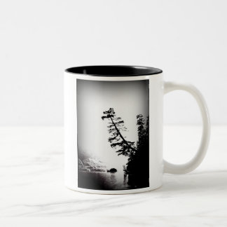 mug with b&w photo of tree, island , lake