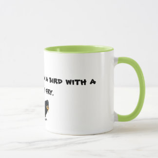 Mug with Be happier than a bird with a french fry