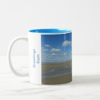 mug with beach and seagull design