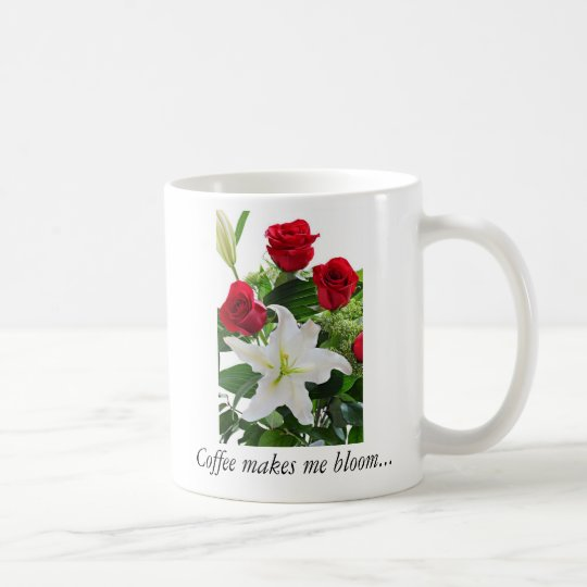 Mug with beautiful flowers, roses and lily
