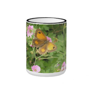 Mug with butterfly and geraniums