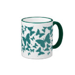 Mug with butterfly pattern in hunter green color