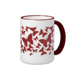 Mug with butterfly pattern in maroon color