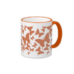 Mug with butterfly pattern in orange color
