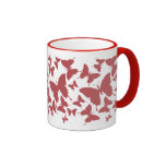 Mug with butterfly pattern in red color
