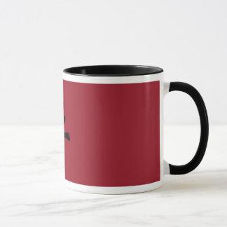 Mug with chinese ox symbol, black and dark red