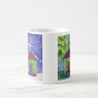 Mug with cozy collaged homes for summer or winter!