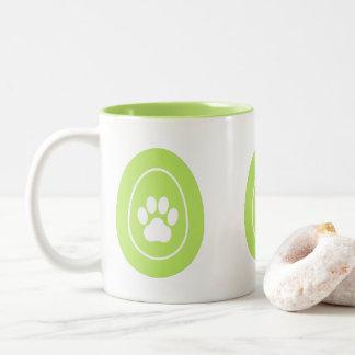 Mug with Green, Paw Print Easter Eggs