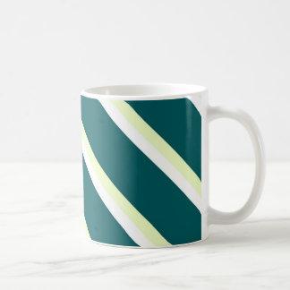 Mug With Green,White and Greenish Diagonal Stripes