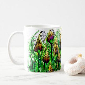 Mug with handpainted purple tulips