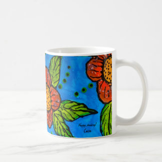 Mug with handpainted red flowers turquoise