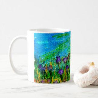 Mug with handpainted surreal purple flowers