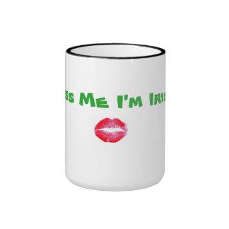 "Mug with ""Kiss me I'm Irish"" across it and lips be"