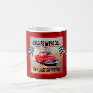 "Mug with ""Old Cars Never Die!"" design"
