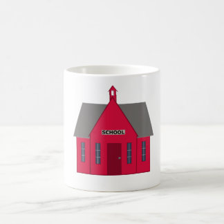 Mug with old-fashioned red schoolhouse.