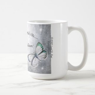 Mug with original artwork of butterfly and quote