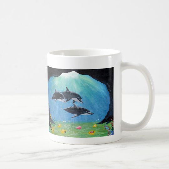 Mug with painting of dolphins
