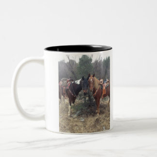 Mug with picture of horses cuddling.