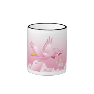 MUG WITH PINK STORK WITH BOW TIE