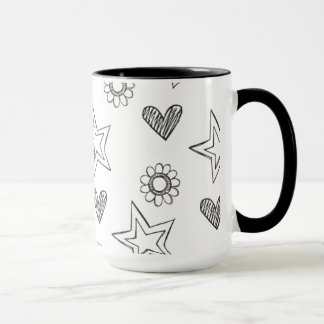 Mug with print of flowers and hearts