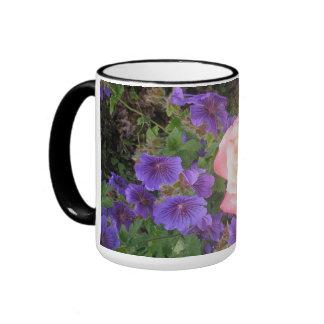 Mug with Purple Geraniums and Peach Rose