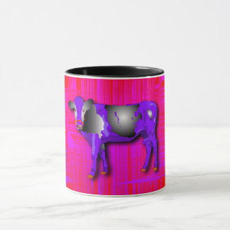 Mug with purple, pink, red, cow design