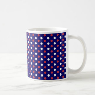 Mug With Red and White Polka Dots Over Blue