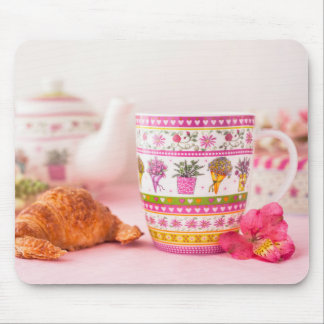 Mug With Tea, Croissant And Flower Mouse Pad
