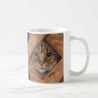 Mug with two cat behind lattice fence