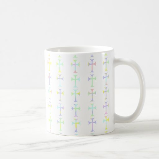 Mug with White Background and Pastel Crosses