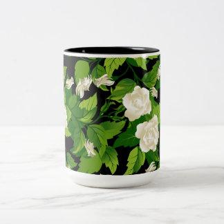 Mug with white roses  seamless