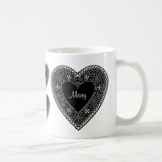 Mug with wrap around Hearts in Vintage Black Lace