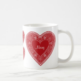 Mug with wrap around Hearts in Vintage Red Lace