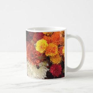 Mug with yellow and orange flowers