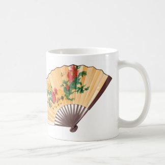 Mug with yellow silk chinese fans.