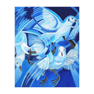 Muge's Pigeons in Blue Canvas Print
