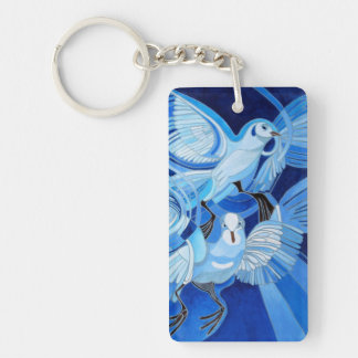 Muge's Pigeons in Blue Keychain