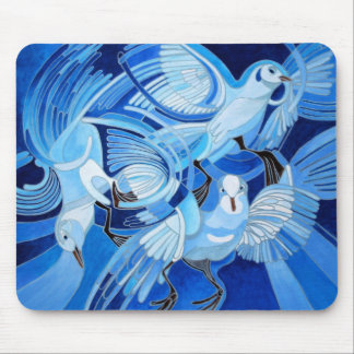 Muge's Pigeons in Blue Mouse Pad