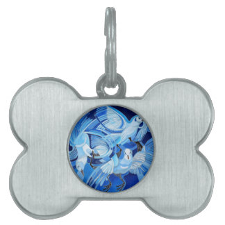 Muge's Pigeons in Blue Pet ID Tag