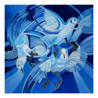 Muge's Pigeons in Blue Print