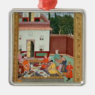 Mughal Emperor Feasting in a Courtyard Metal Ornament