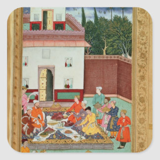 Mughal Emperor Feasting in a Courtyard Square Sticker