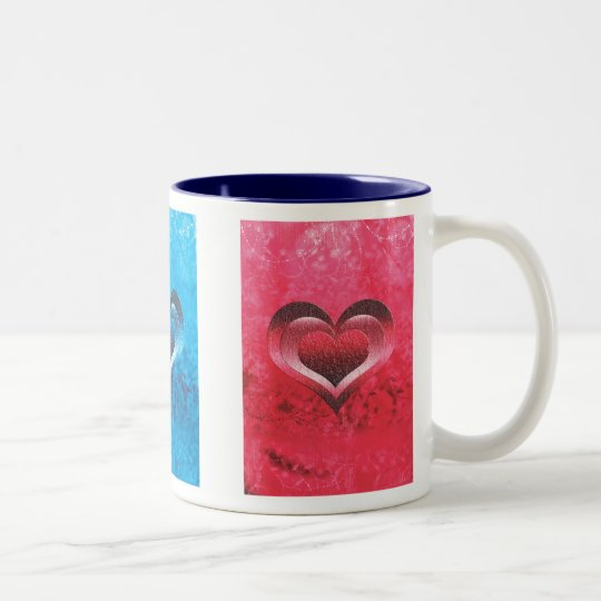 Mugs & cups - pink & blue trendy grunge hearts