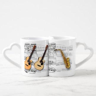 Mugs Music violão and sax Couples Mug